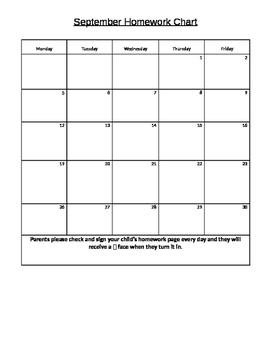 2016-2017 School year behavior and homework chart