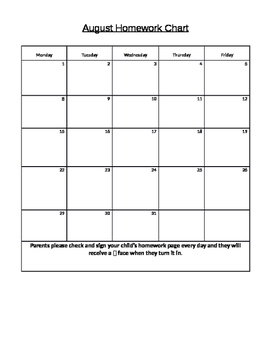 2016-2017 School year behavior and homework chart