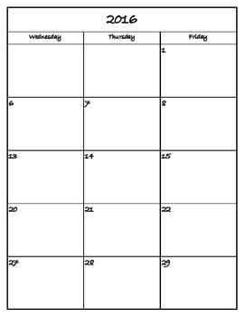 2016 - 2017 Simple Teacher Calendar