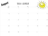 2016-2017 Snack Calendar