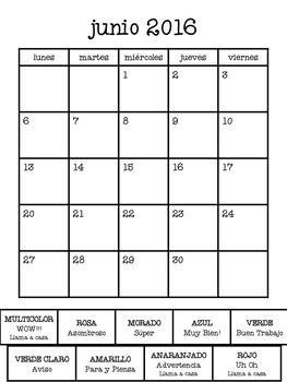 2016-2017 Spanish Behavior Calendar (EDITABLE)