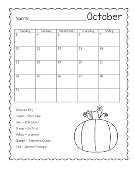2016-2017 Student Behavior Calendar