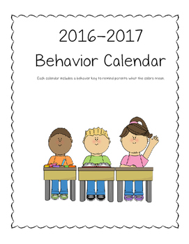 2016-2017 Student Behavior Calendar