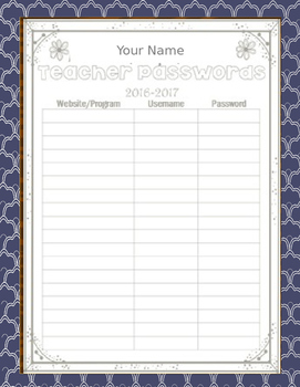 Teacher Planner Editable 2016-2017
