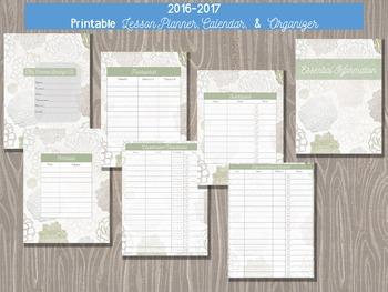 2016-2017 Teacher Calendar and Planner