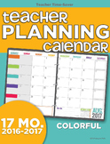 2016-2017 Teacher Planning Calendar Template {Colorful}