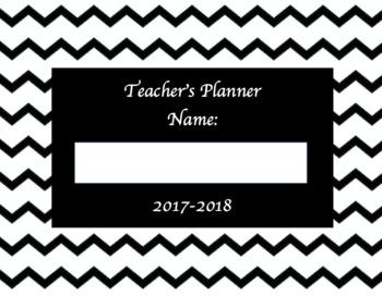 2017-2018 Teacher Year Planner Black and White Chevron *Editable version*