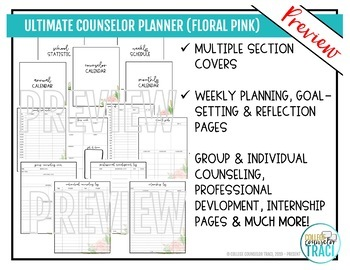 2017-2018 Ultimate School Counselor Planner (Floral Dream Theme)