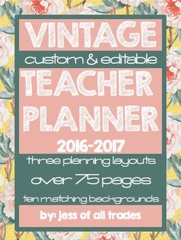 2016-2017 Vintage Teacher Planner- Editable