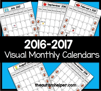 2016-2017 Visual Monthly Calendars for Children with Autism