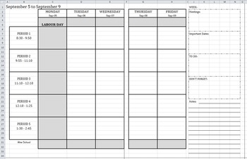 2016-2017 WEEKLY Calendar-At-A-Glance Template