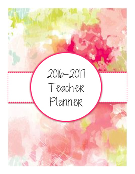 2016-2017 Watercolor Teacher Planner