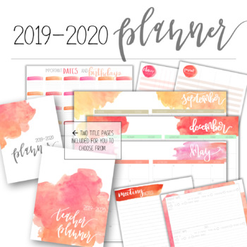 2017-2018 Watercolor Teacher Planner - Editable