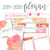 2019-2020 Watercolor Planner w/ Editable Planning Pages &