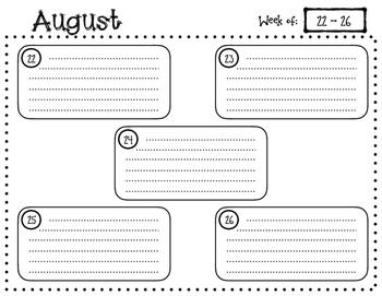 2016/2017 Weekly Planning Calendar
