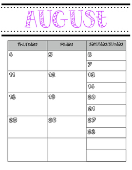 2016-2017 Weekly Teacher Planner