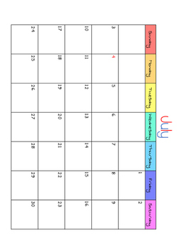 2016-2017 Year of Monthly Calendars (June to June)