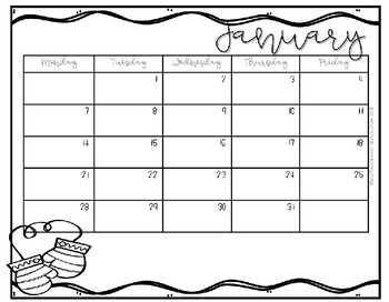 2016-2017 Yearly Behavior Calendars (Horizontal)