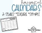 2018- 2019 Editable Calendars for Teachers and Students (Horizontal)