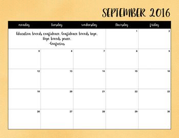 2016-2017 Yellow Herringbone Calendar