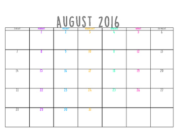 2016-2017 calendar, planner page, week at a glance