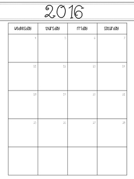 2016-2018 Monthly Calendars