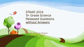 2016 5th Grade Science Released Questions Without Answers