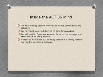 2016 ACT Reading Preparation and Strategies Powerpoint