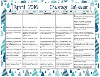 2016 April Writing Prompt Calendar