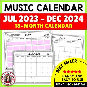 Music Calendar 2020 Music Calendar 2019   2020 by MusicTeacherResources | TpT