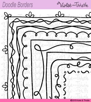 Borders Doodle Borders Frames 8.5 x 11 Black Line & White Fill Border Versions
