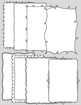Borders Doodle Borders Frames 8 5 x 11 Black Line & White Fill Border  Versions