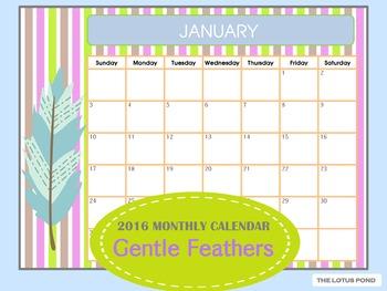 2016 Calendar : Gentle Feathers