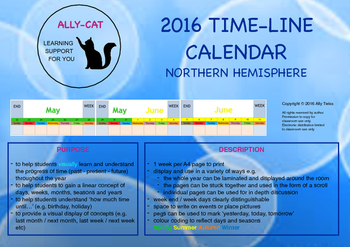 2016 Calendar - Linear version - Northern Hemisphere