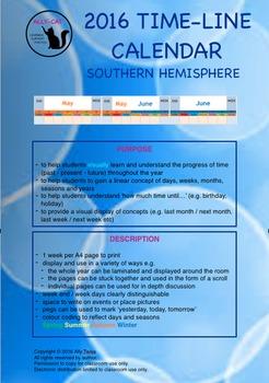 2016 Calendar - Linear version - Southern Hemisphere