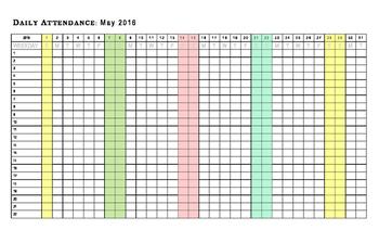 2016 Calendar / May & June Attendance Chart