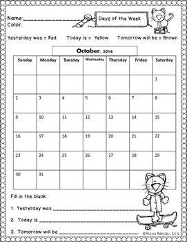 2016 - 2017 Calendar Practice Bundle (Days of the week and months of the year!)