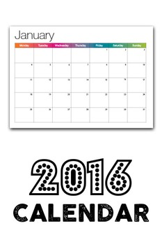 2016 Calendar - Simple and Brightly Coloured