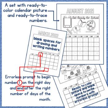Calendar 2017, CYO Picture Calendar - Differentiated: Draw/Color, Trace/Write