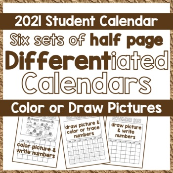Calendar 2017, DIY Student Picture Calendar - Differentiated: Draw, Color, Write