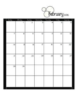 2016 Calendar black and white