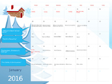 2016 Calendar with Themes by Day - Fully Editable