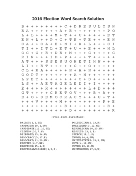"""2016 Election Word Search """"President Trump"""" FUN! (Color and Black Line)"""