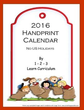 2016 Handprint Calendar - Template 2 - No US Holidays
