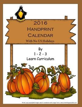 2016 Handprint Calendar with NO US holidays