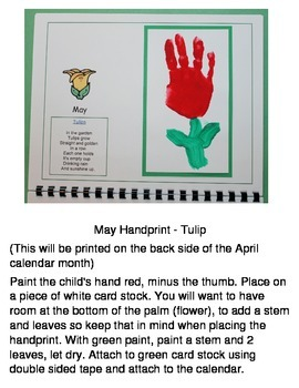 2016 Handprint Calendar with US Holidays
