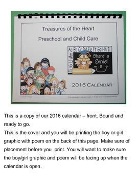 2016 Handprint Calendar with US Holidays - 2nd Template