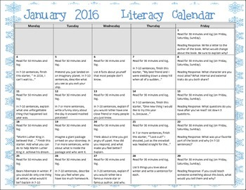 2016 January Writing Prompt Calendar