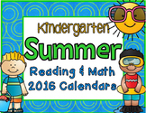 2016 Kindergarten Summer June and July Calendar and Activity Packet