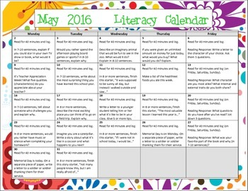 2016 May Writing Prompt Calendar